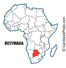 Botswana outline inset into a map of Africa over a white background