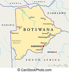 Political map of Botswana with capital Gaborone, with national borders, most important cities, rivers and lakes. Illustration with English labeling and scaling.