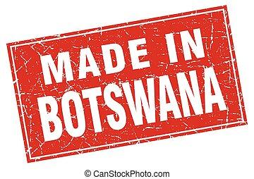 Botswana red square grunge made in stamp