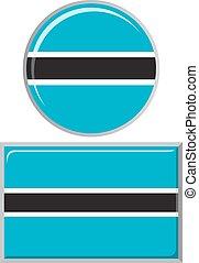 Botswana round and square icon flag.