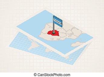 Botswana selected on map with 3D flag of Botswana.