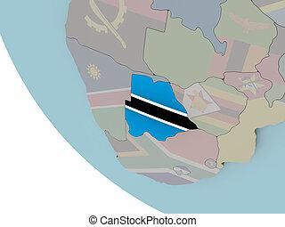 Botswana with flag illustration