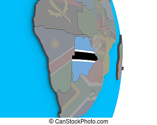 Botswana with flag on 3D globe