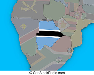 Botswana with flag on 3D map