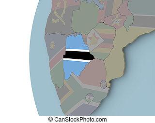 Botswana with flag on globe