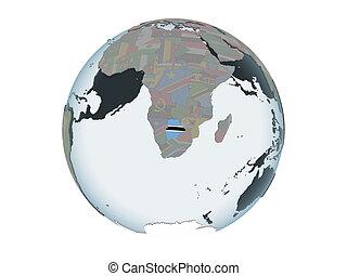 Botswana with flag on globe isolated