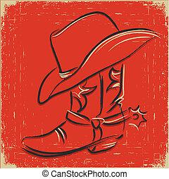botte cowboy, illustration, ennemi, conception, occidental, .sketch, chapeau