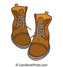 bottes, chaussures, vecteur, illustration