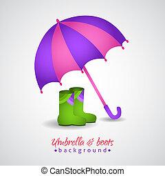 bottes, clair, parapluie, ouvert, pluie