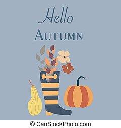bottes, fleurs, automne, illustration, potirons, caoutchouc, vecteur