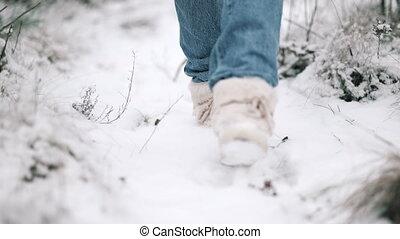 bottes, neigeux, femme, sentier, -, fourrure, forest., lent, branché, motion., marche long, hiver, jambes, chaussures