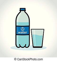 bottiglia acqua, e, vetro, bianco, fondo