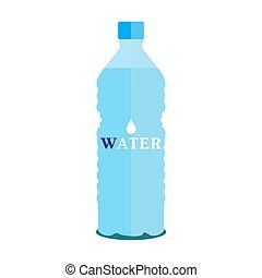 bottiglia, acqua pura, vettore, fondo, piccolo, bianco