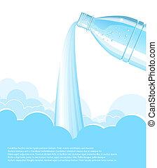 bottiglia acqua, vettore, fondo., pulito, colatura