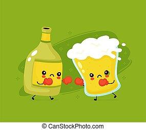 bottiglia birra, lotta, vetro, carino