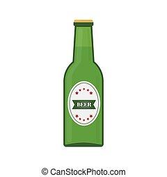 bottiglia, birra, verde, pub, appartamento, t-shirt, sbarra, bandiera, aviatore, vettore, disegno, tuo, icon., o, white., manifesto, disegno, isolato, redigere, elemento, facile, ecc., logotipo, fabbrica birra, menu