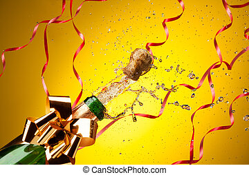 bottiglia, champagne, aperto, giusto, schizzi
