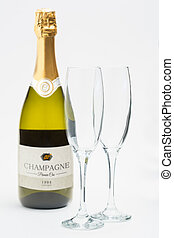 bottiglia champagne, con, due, flauti
