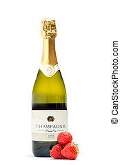 bottiglia champagne, con, tre, fragole