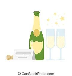 bottiglia, champagne, due, glasses.