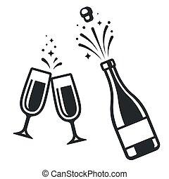 bottiglia champagne, occhiali