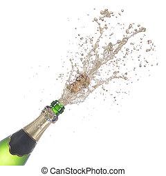 bottiglia champagne, schioccare, relativo, sughero