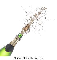 bottiglia champagne, schioccare, relativo, sughero, e, gli spruzzi