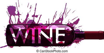 bottiglia, fatto, schizzi, colorito, vino
