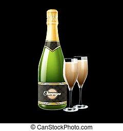 bottiglia, illustrazione, champagne