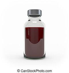bottiglia, isolato, interpretazione, fondo, medicina, iniezione, bianco, 3d