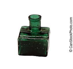 bottiglia, isolato, verde, vendemmia, vetro, bianco