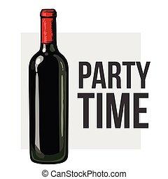 bottiglia, mano, vetro, presa a terra, vino rosso