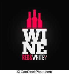 bottiglia, menu, vetro, disegno, fondo, vino