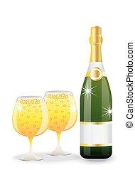 bottiglia, occhiali, champagne