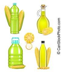 bottiglia, olio, set, realistico, illustrazione, vettore, granaglie