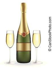 bottiglia, pieno, due, wineglasses, champagne