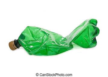 bottiglia, plastica, verde, schiacciato
