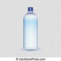 bottiglia, puro, illustrazione, acqua, vettore, fondo, trasparente
