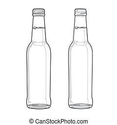 bottiglia soda, vettore, linea, fuori