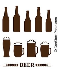 bottiglia, tazza, set, birra, schiuma