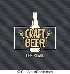 bottiglia, vendemmia, etichetta, birra, disegno, fondo