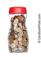 bottiglia vetro, pieno, di, monete