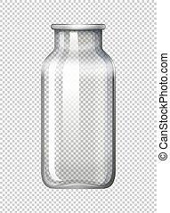 bottiglia vetro, su, trasparente, fondo