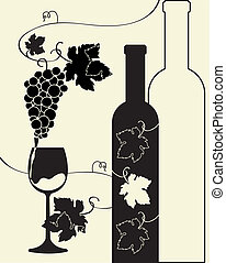 bottiglia vetro, uva, vino