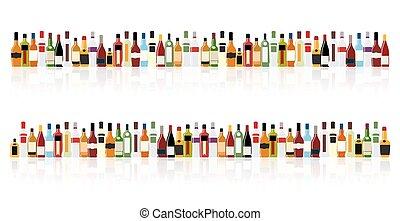 bottiglia, vettore, silhouette, alcool, illustrazione
