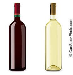 bottiglia, vino, bianco rosso