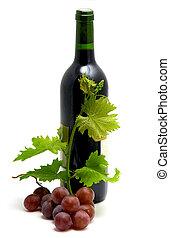 bottiglia vino, con, vino uva, mette foglie, e, vite