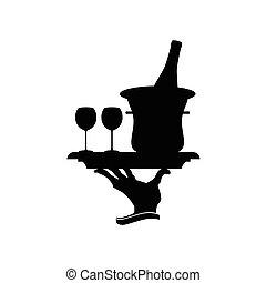 bottiglia vino, illustrazione, occhiali