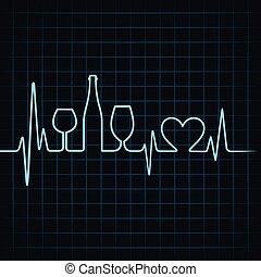 bottiglia vino, occhiali, fare, battito cardiaco
