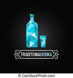 bottiglia, vodka, disegno, poly, fondo